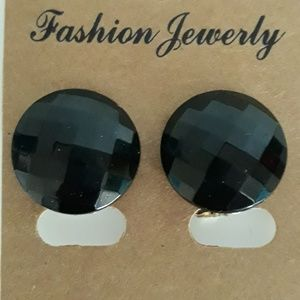 2 cm Black Faceted Button Clip-on Earrings